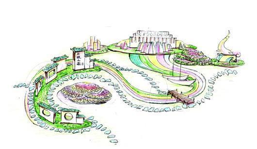 宜昌展区手绘效果图